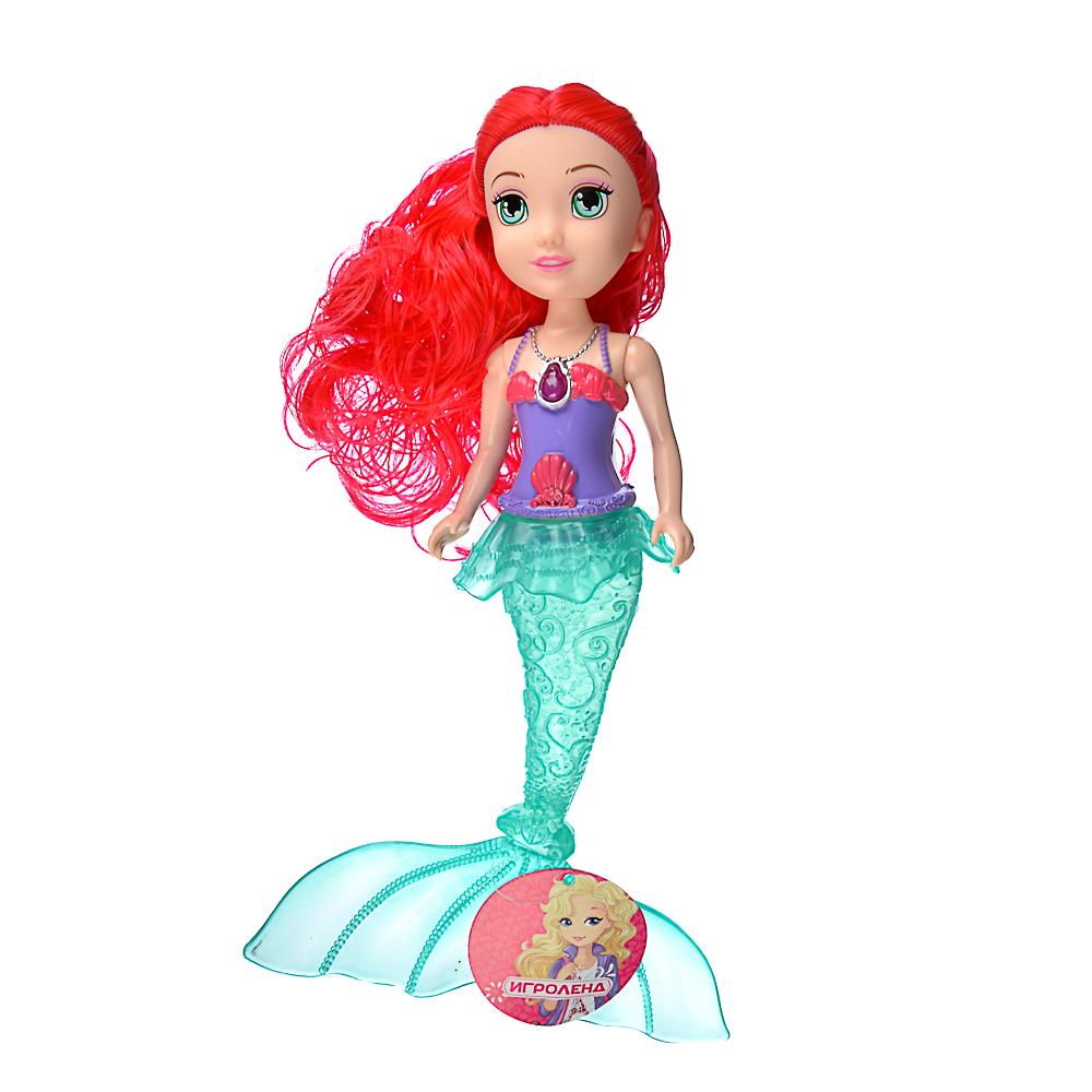 ИГРОЛЕНД Кукла с хвостом русалки, с аксессуарами,свет,3хAG3, 25x40х6см, 3 дизайна