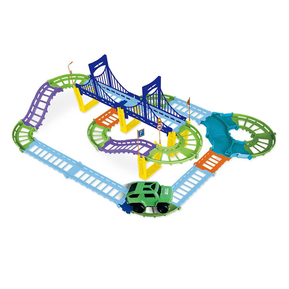 ИГРОЛЕНД Набор игровой Автотрек с машиной с функцией движения, 1АА, пластик, 38x26x6см