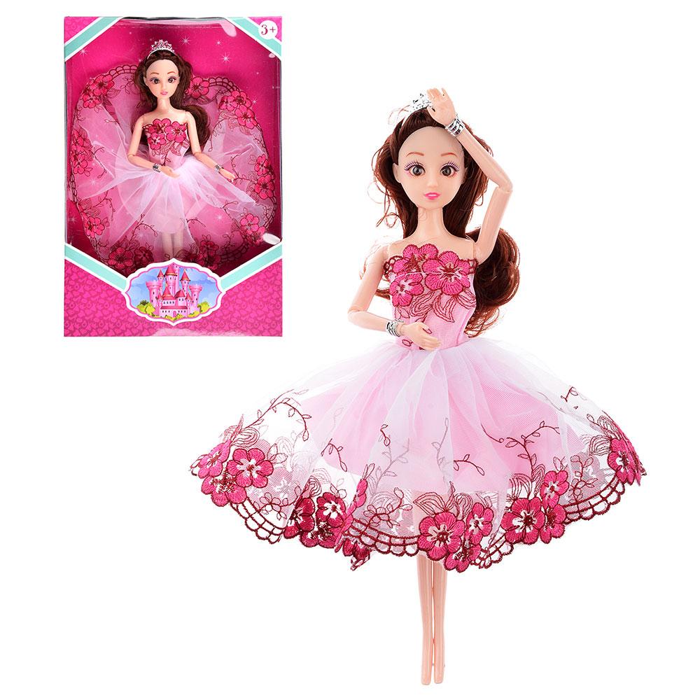 ИГРОЛЕНД Кукла шарнирная в платье принцессы 29см, пластик, полиэстер, 20х30х5см, 10 дизайнов