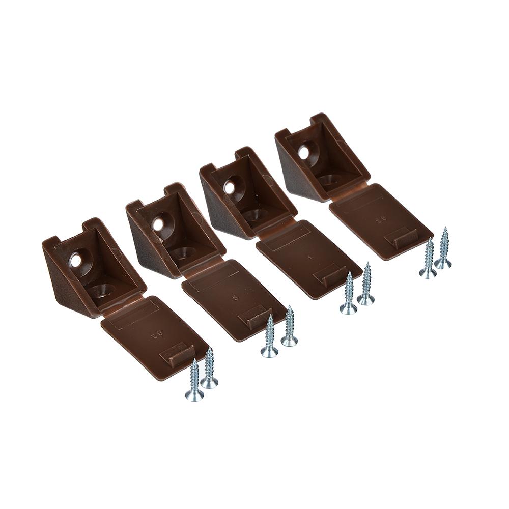 ЕРМАК Мебельный уголок с шурупом, цвет дуб, сталь, 4 шт