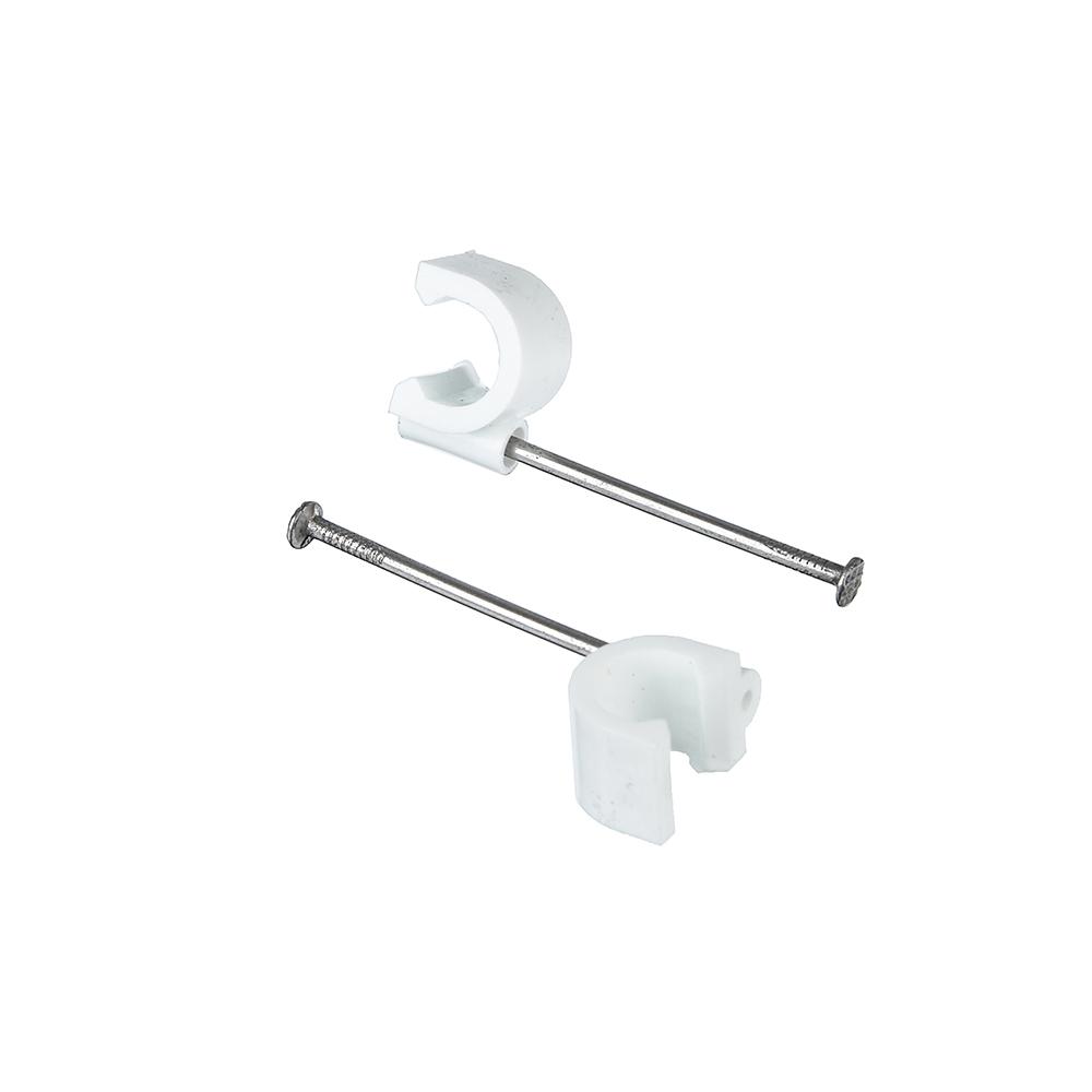 ЕРМАК Скоба для кабеля круглая А10мм, металл, пластик, 25 шт, 665202