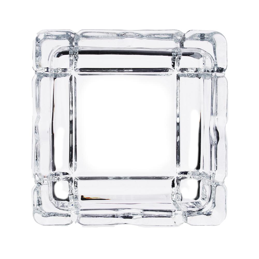 Пепельница стеклянная, квадратная, 10,5х10,5х3 см, вид 1