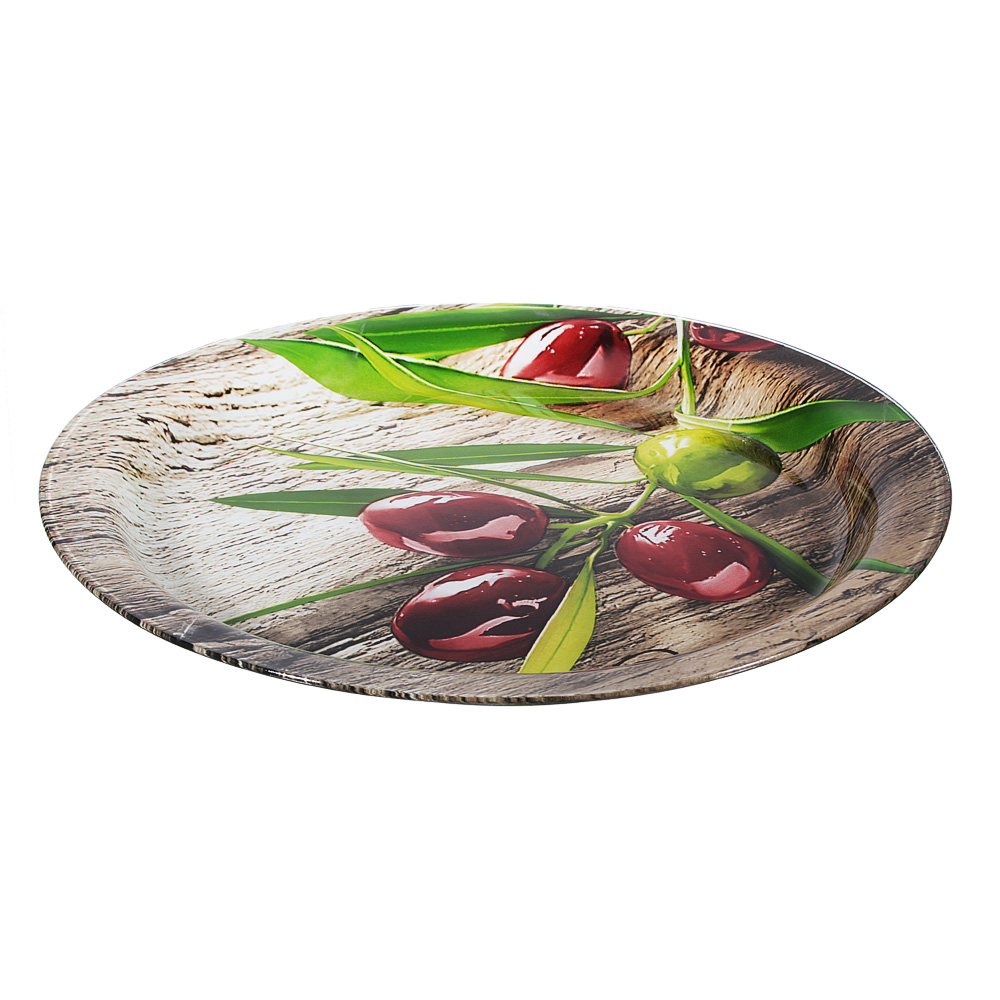 Оливки Блюдо круглое, стекло, 37см