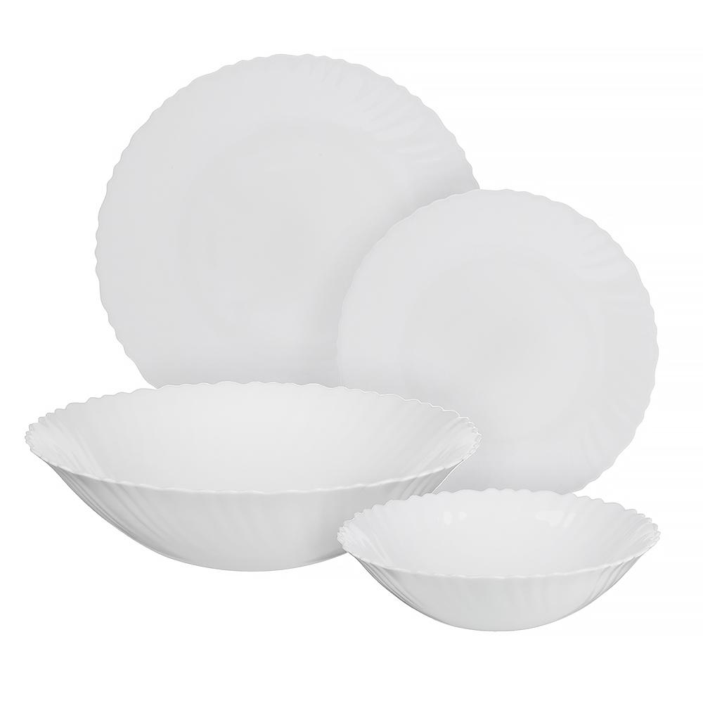 """Набор столовой посуды 19 предметов, опаловое стекло, MILLIMI """"Бьянко"""""""