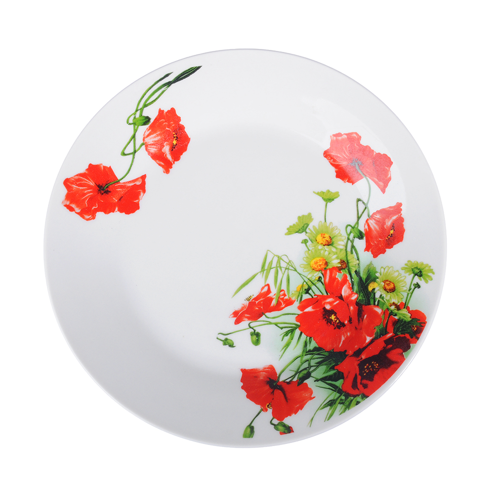 Красный мак Тарелка десертная, 19см, фарфор