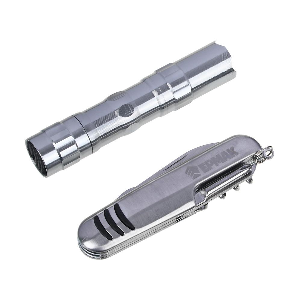 ЧИНГИСХАН Набор многофункциональный, 10 функций + фонарик , нерж. сталь