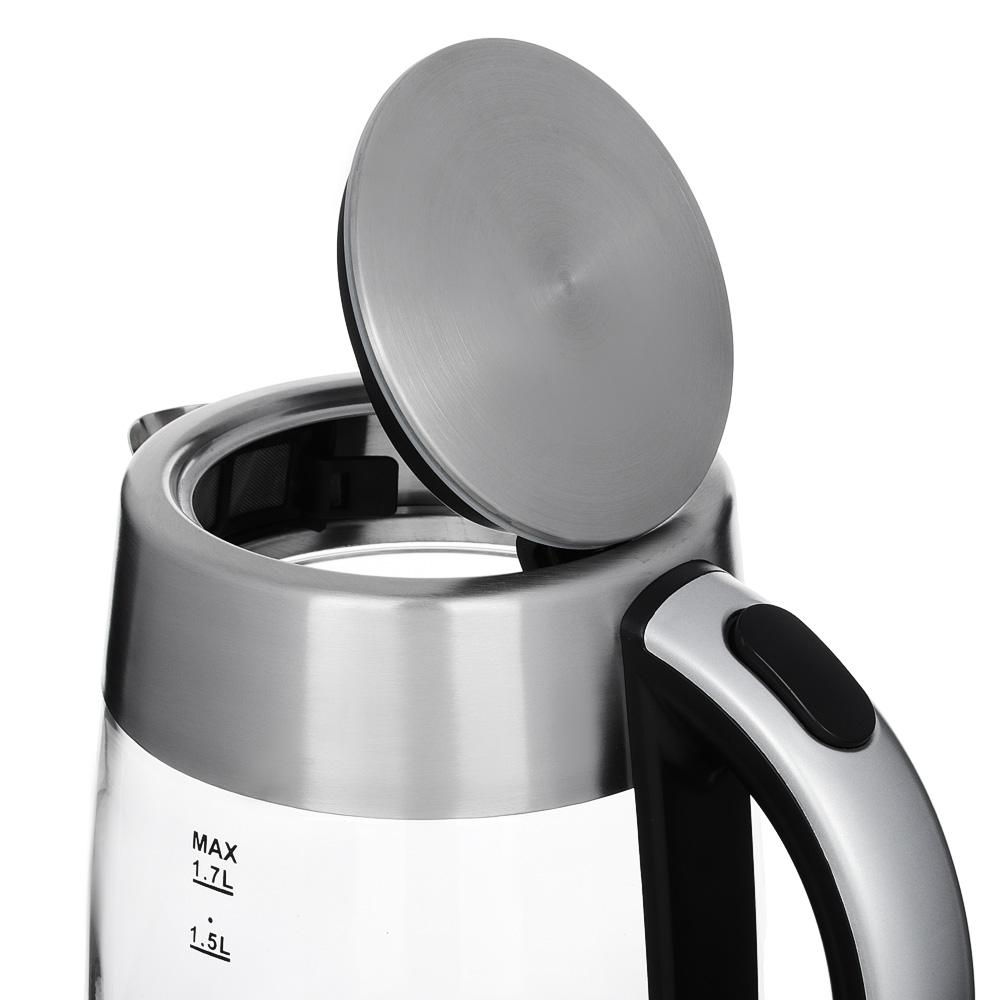 Чайник электрический 1,7 л LEBEN, 2000 Вт, стекло/нержавейка, на базе с поддержанием температуры