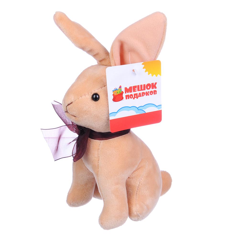 МЕШОК ПОДАРКОВ Игрушка мягкая в виде зайчика плюшевого 14см, полиэстер, 1-4 цвета