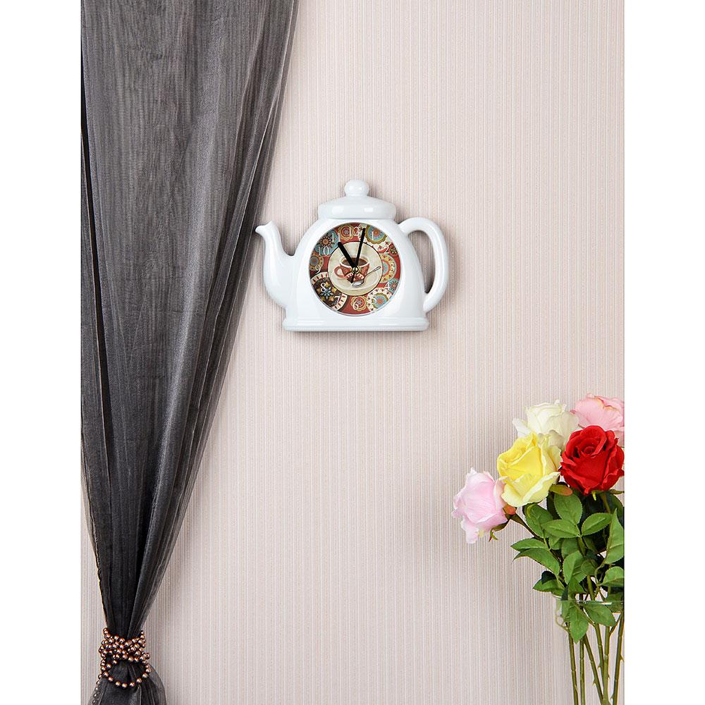 Часы настенные в форме чайника, 1хАА, 5,5х21 см, белые