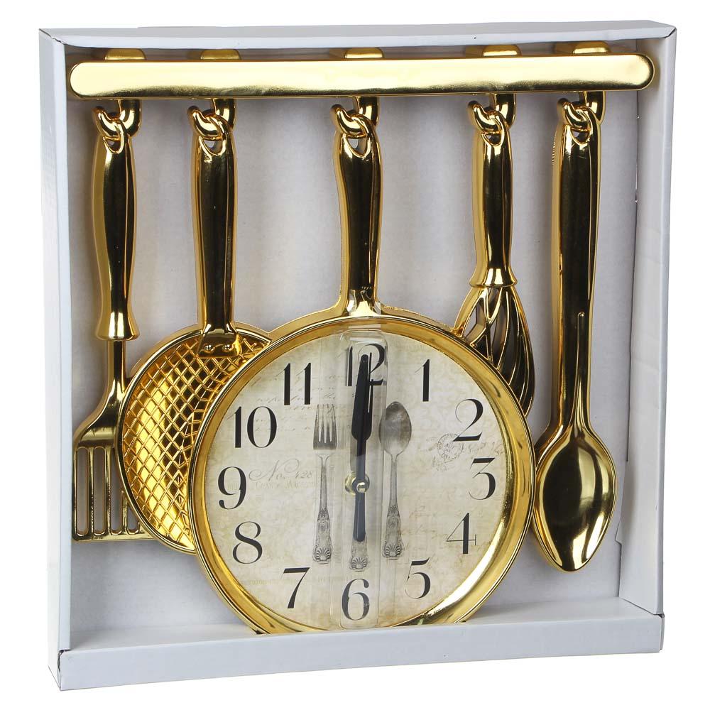 Часы настенные в форме столовых приборов, 1хАА, 32х31,5 см, золотые и серебряные