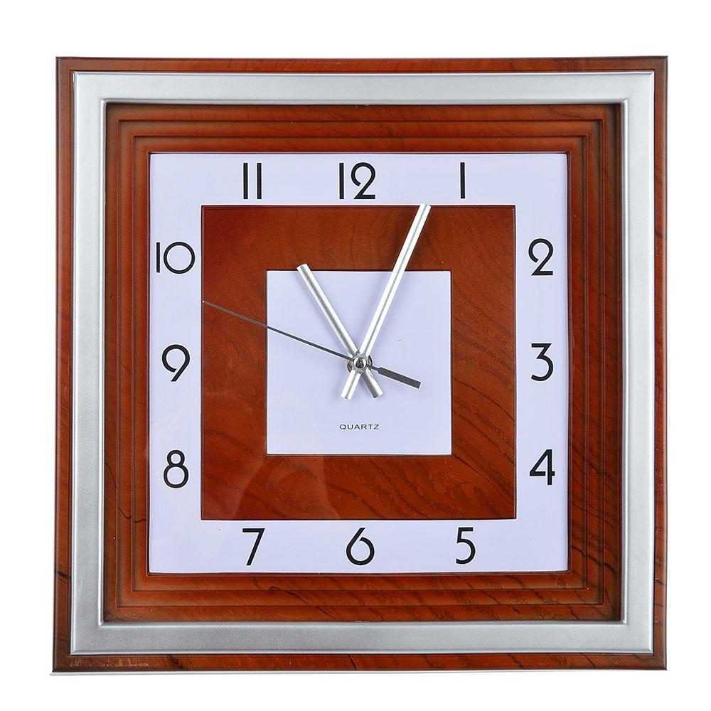 Часы настенные, квадратные, 1хАА, 31х31 см, серые с коричневым