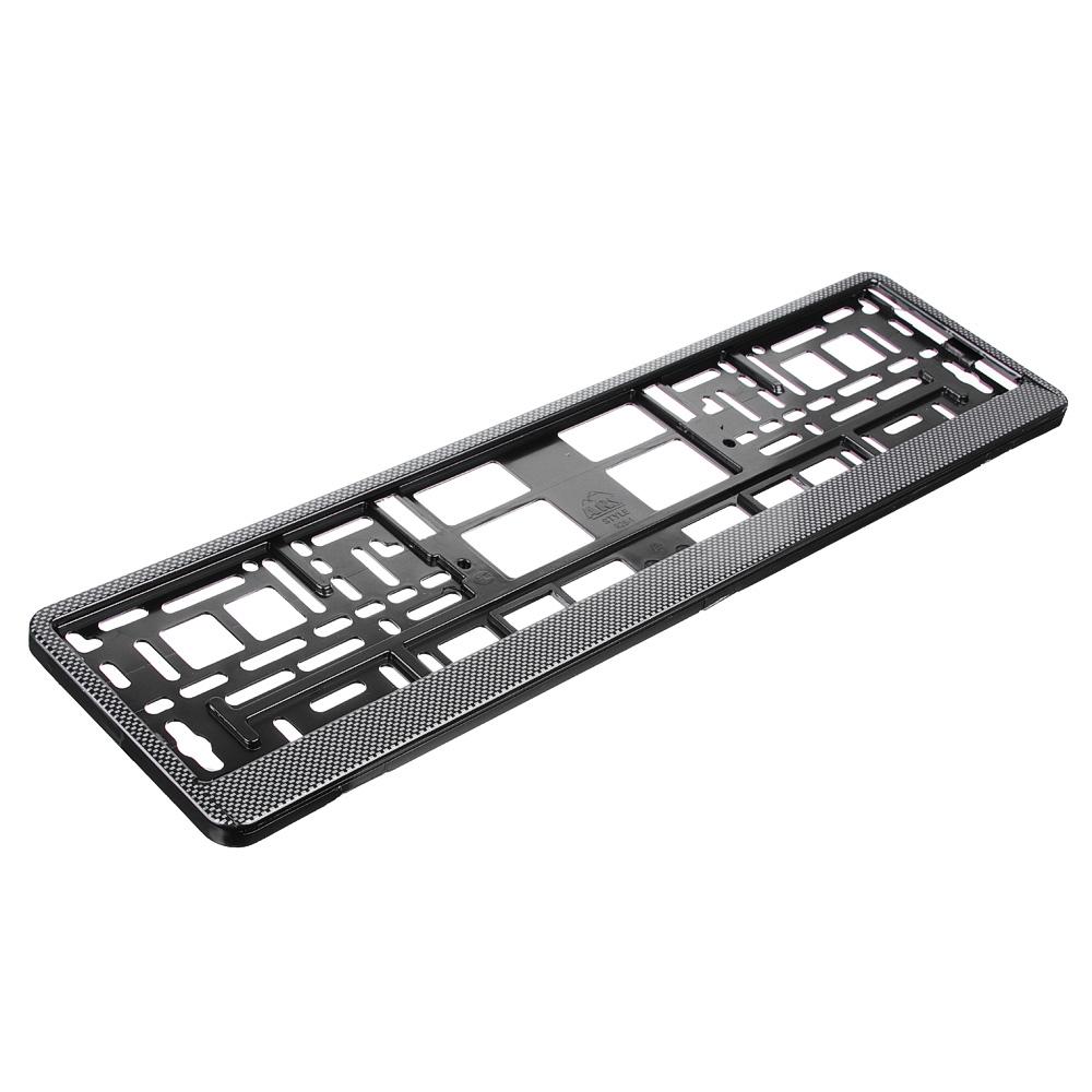 NEW GALAXY Рамка автомобильного номера, пластик, теснение карбон темный, 52,7х13,3 см