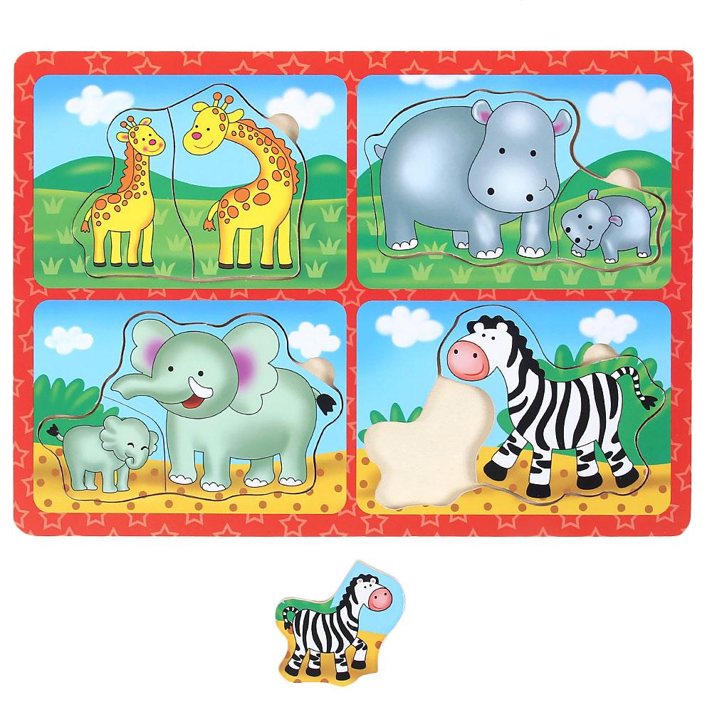 "Пазл-рамка ""Мамы и Малыши"", дерево, 29,5х21х0,8, 2-6 дизайнов"