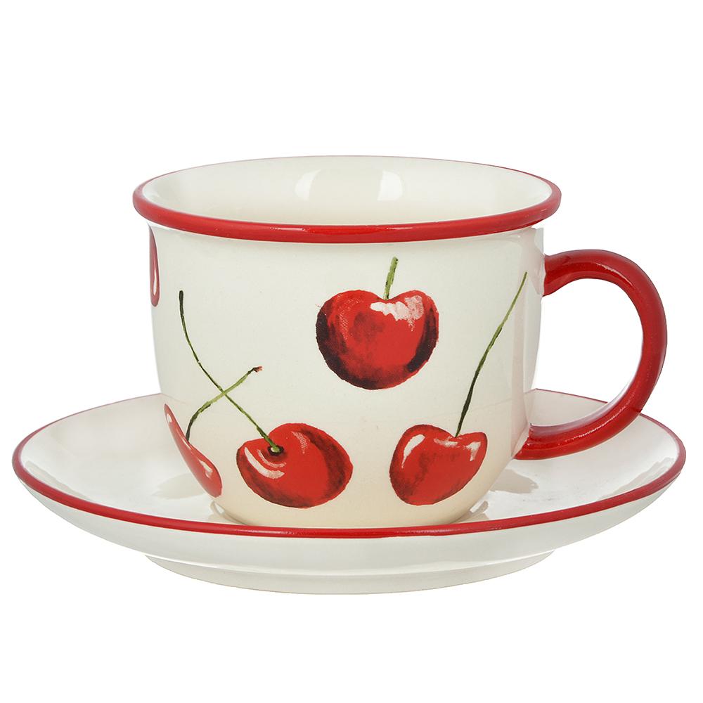 "Чайный сервиз 2 предмета, керамика, MILLIMI ""Вишни"""