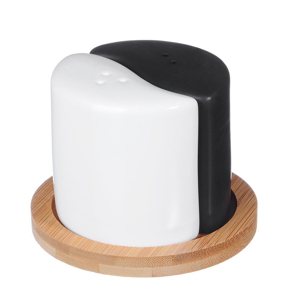 """Набор для соли и перца, матовая керамика/бамбук, MILLIMI """"Черный бархат"""""""