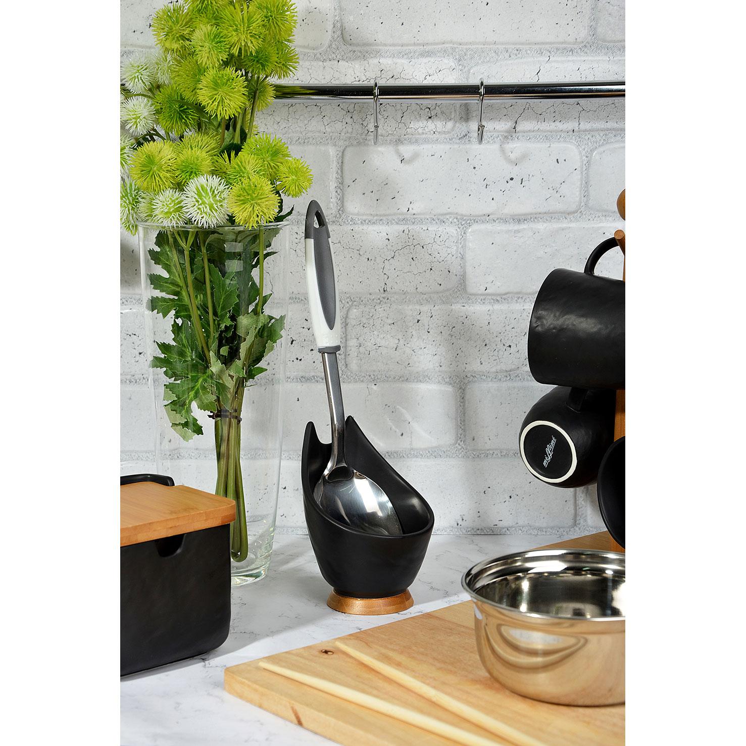 "Подставка под ложку 9,5х10х13,5 см, матовая керамика/бамбук, MILLIMI ""Черный бархат"""