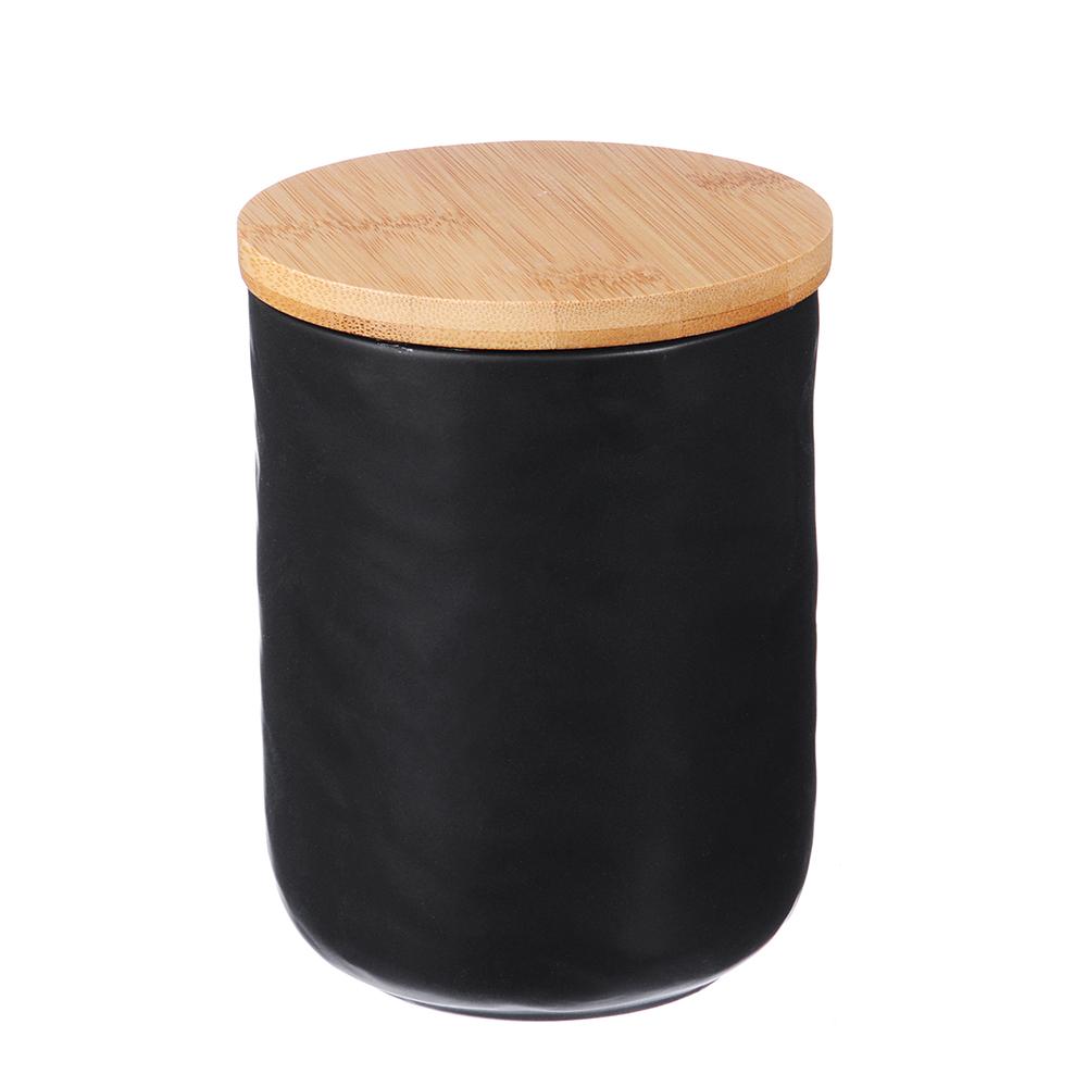 "Банка для хранения 10,5х10,5х13,5 см, матовая керамика/бамбук, MILLIMI ""Черный бархат"""