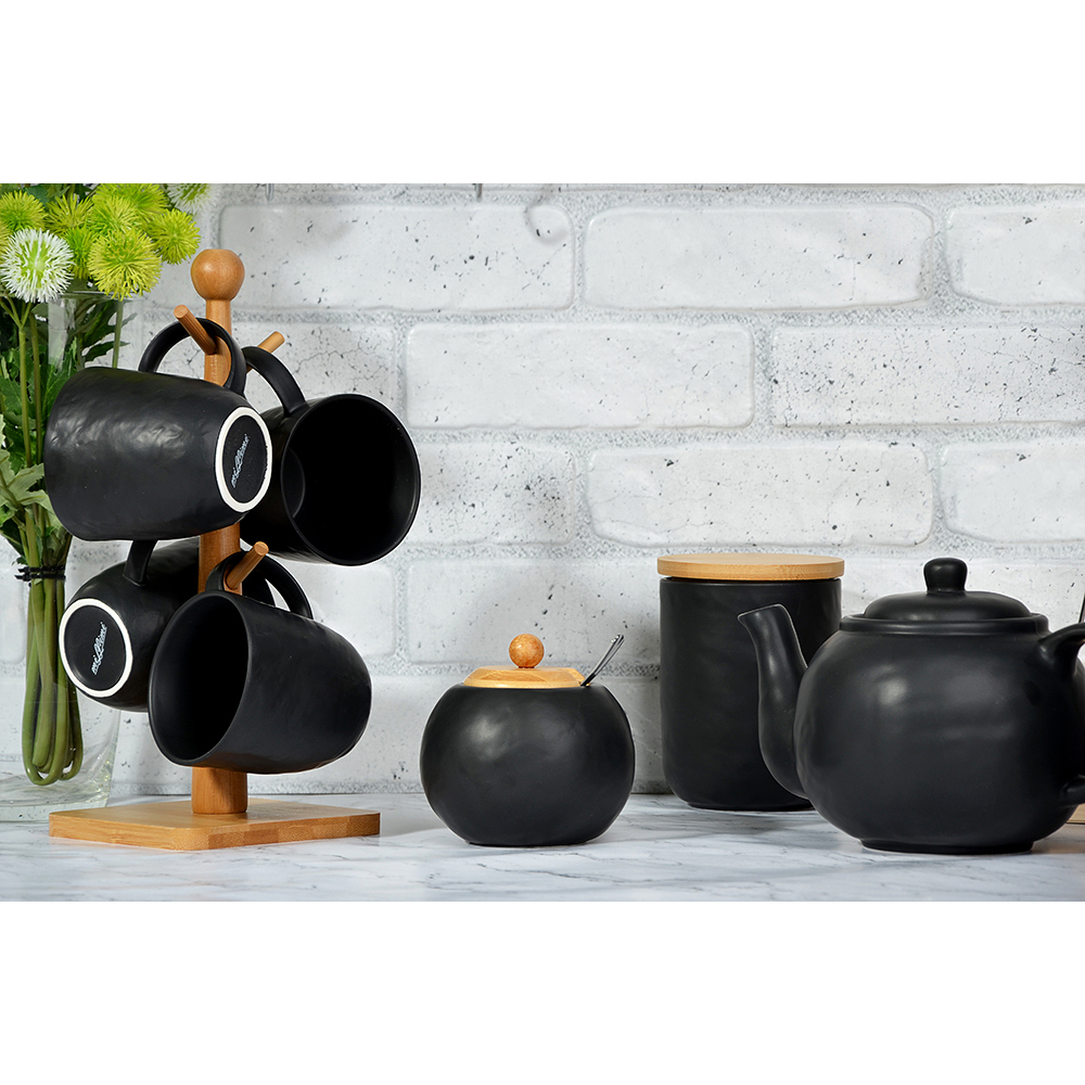 "Сахарница 500 мл, матовая керамика/бамбук, MILLIMI ""Черный бархат """