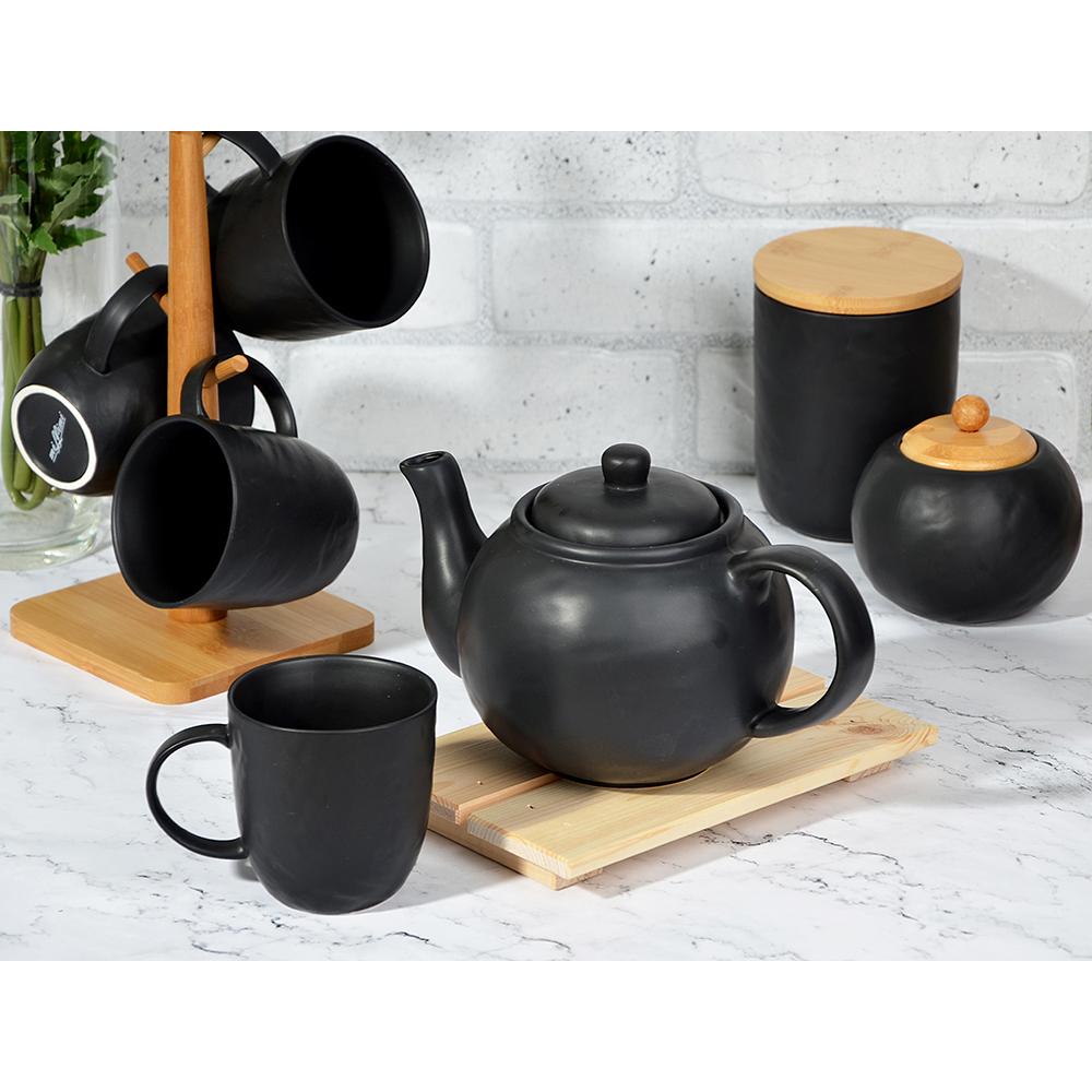 """Чайник заварочный 1200 мл, матовая керамика, MILLIMI """"Черный бархат"""""""