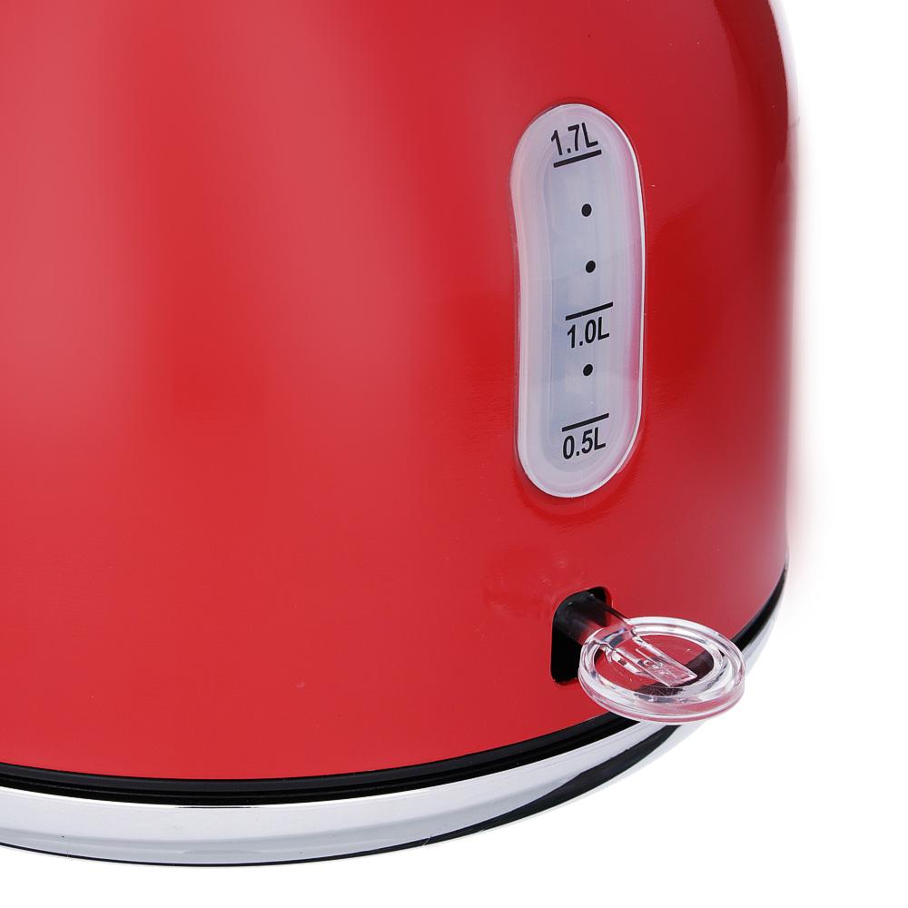 Чайник электрический 2,0 л LEBEN, 2200 Вт,нержавеющая сталь, красный
