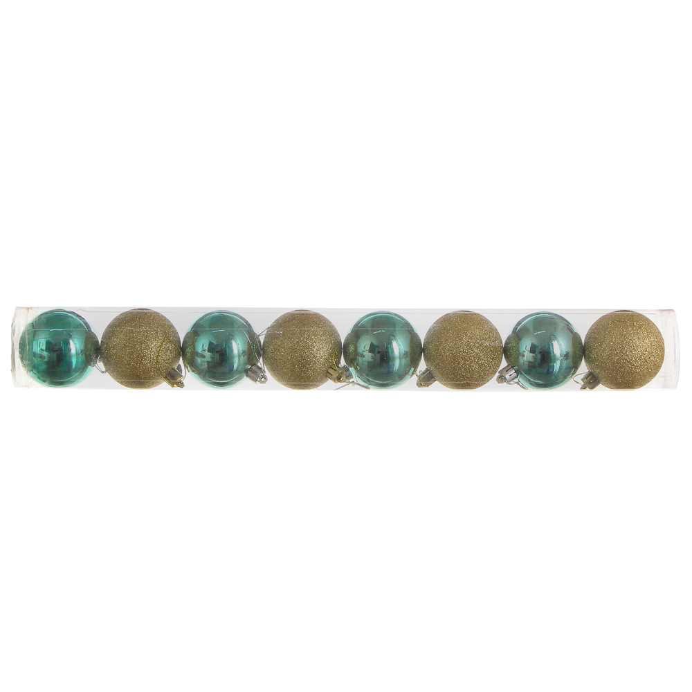 Елочные шары набор СНОУ БУМ 8 шт, 6см, пластик, в тубе, бирюзовый и золотой глиттер