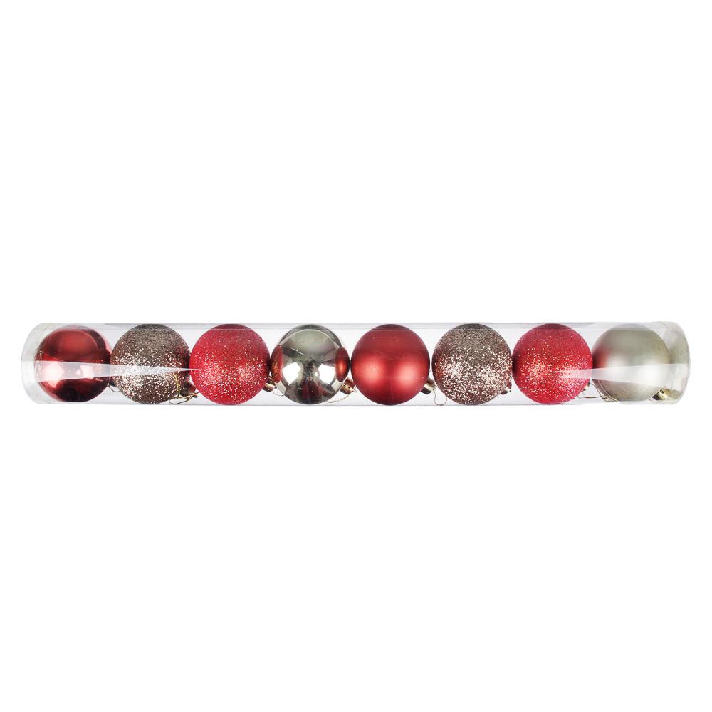 Елочные шары набор СНОУ БУМ 8 шт, 6см, пластик, в тубе, коралловый и шампань
