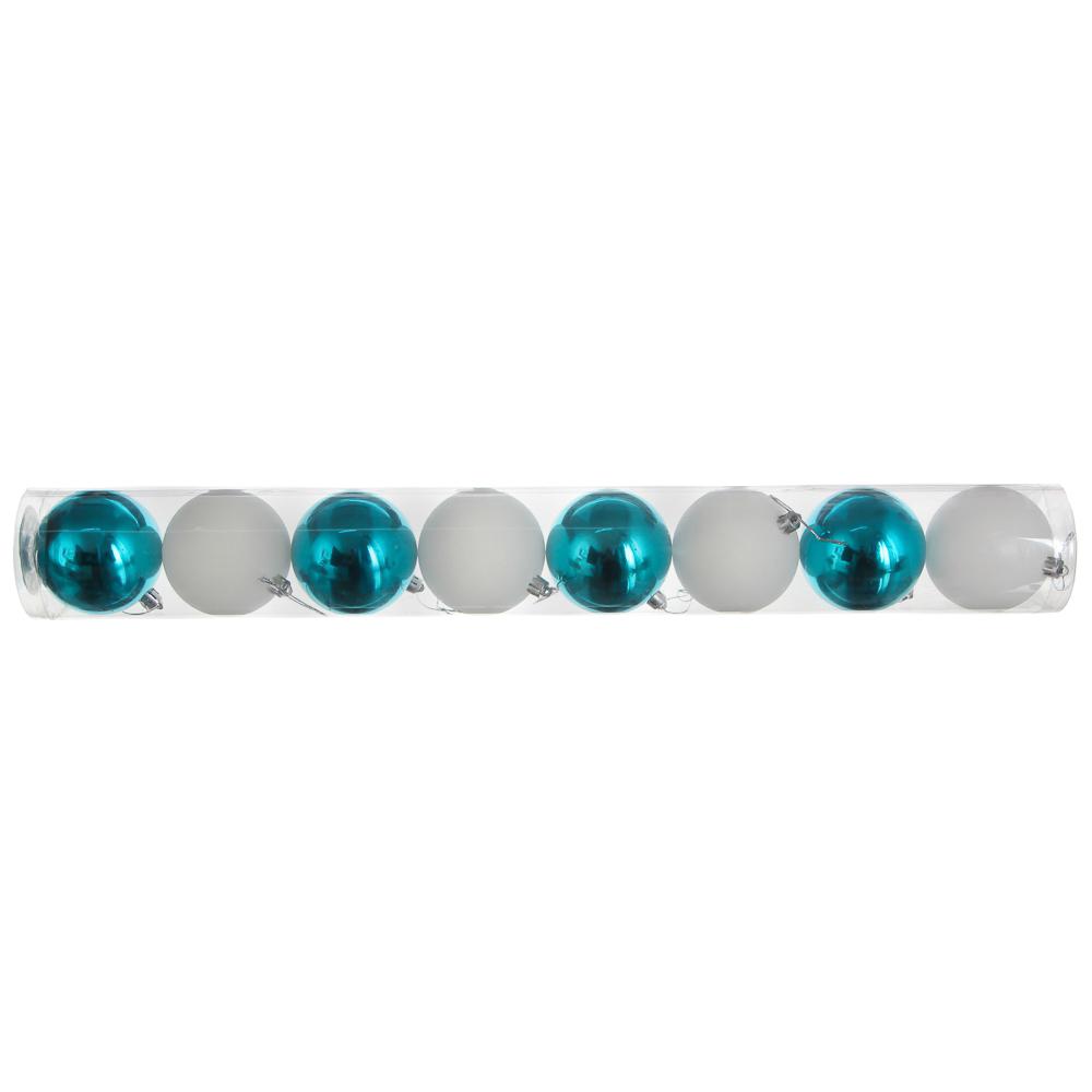 Елочные шары набор СНОУ БУМ 8 шт, 6см, пластик, в тубе, белый глиттер и голубой