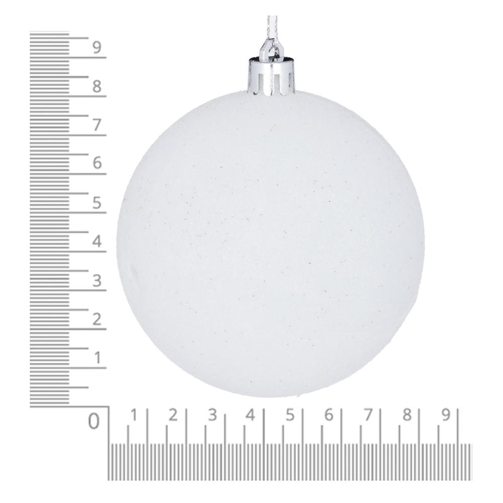 Елочные шары набор СНОУ БУМ 8 шт, 8см, пластик, в тубе, белый глиттер и голубой