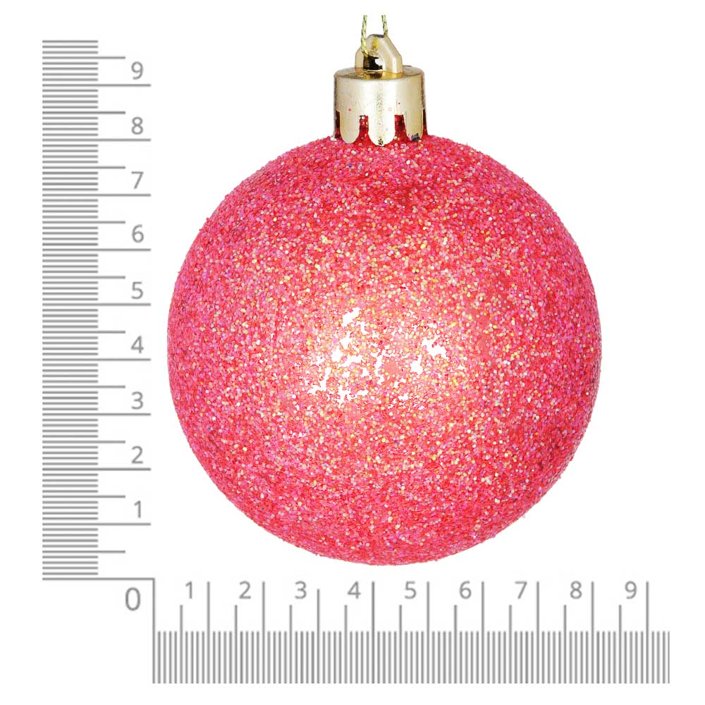 Елочные шары набор СНОУ БУМ 8 шт, 8см, пластик, в тубе, коралловый и шампань