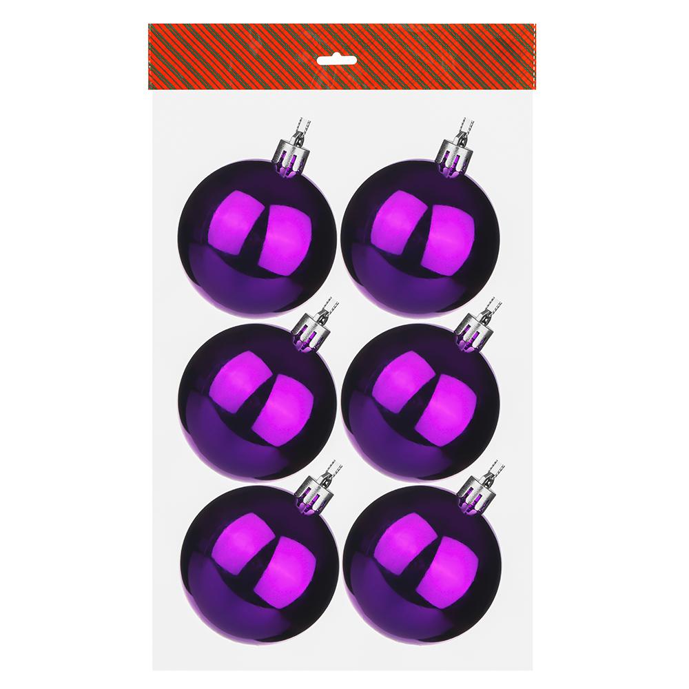 Елочные шары набор СНОУ БУМ 6шт, 6см, пластик, в пакете, фиолетовый, глянец