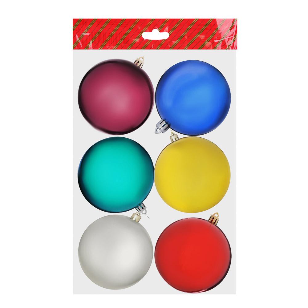 Елочные шары набор СНОУ БУМ 6шт, 6см, пластик, в пакете, мульти, глянец