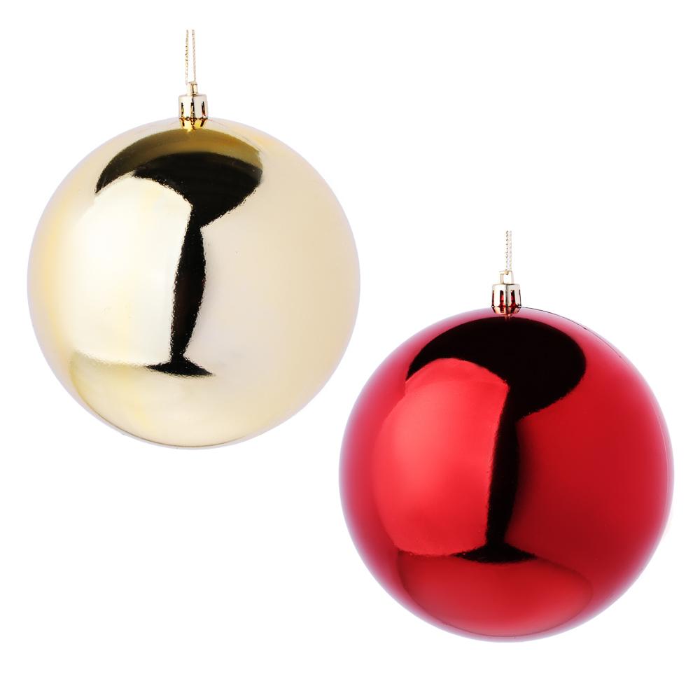 Елочный шар СНОУ БУМ 12 см, пластик, 1 шт, в пакете, красный и золотой