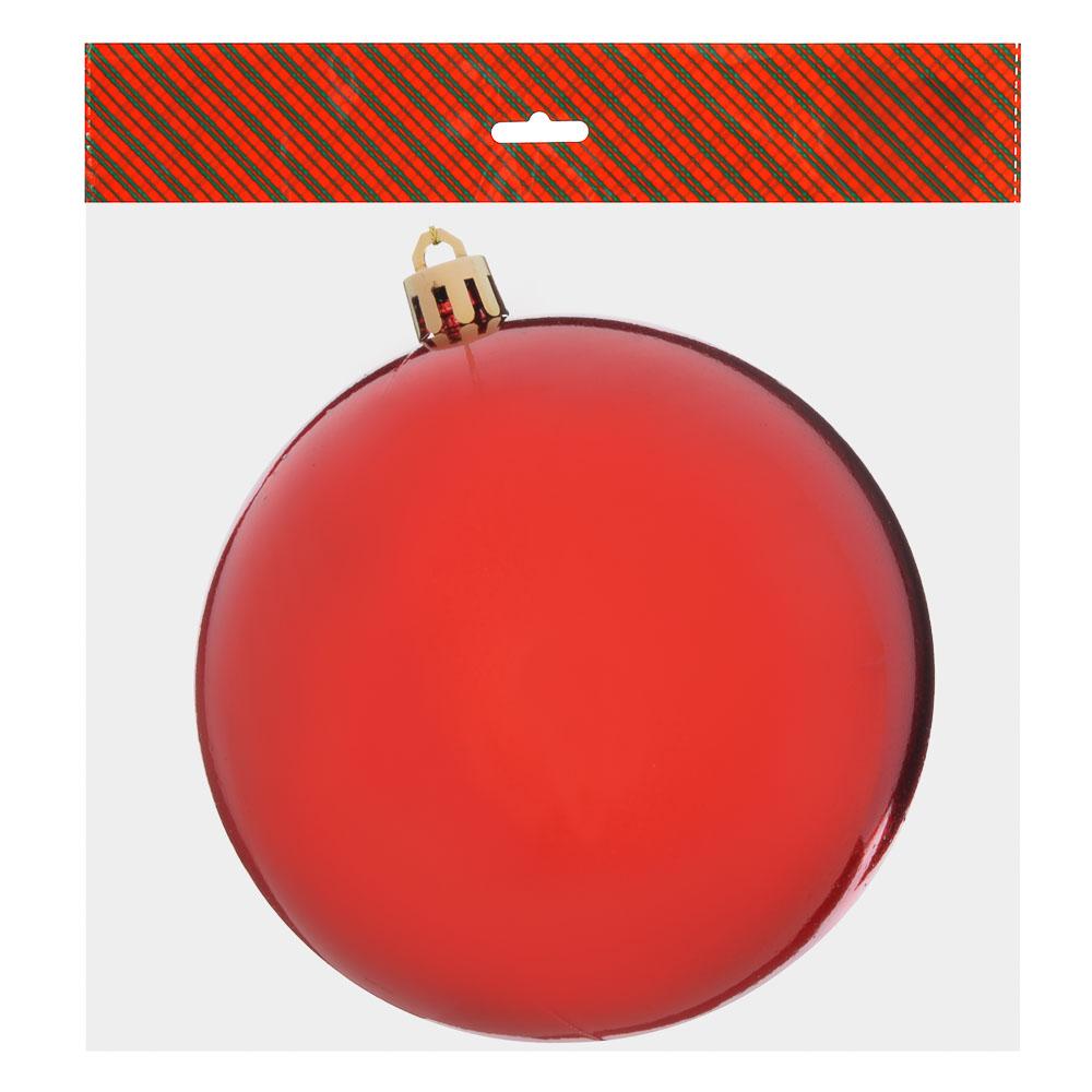 Елочный шар СНОУ БУМ 12 см, пластик, 1 шт, в пакете, красный