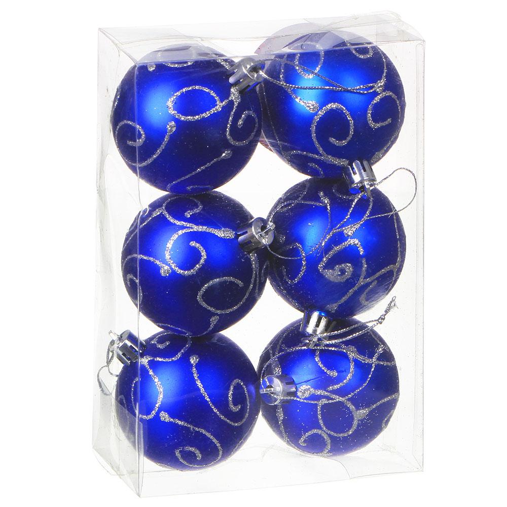 Елочные шары набор СНОУ БУМ 6 шт, 6 см, пластик, в коробке ПВХ, 4 дизайна