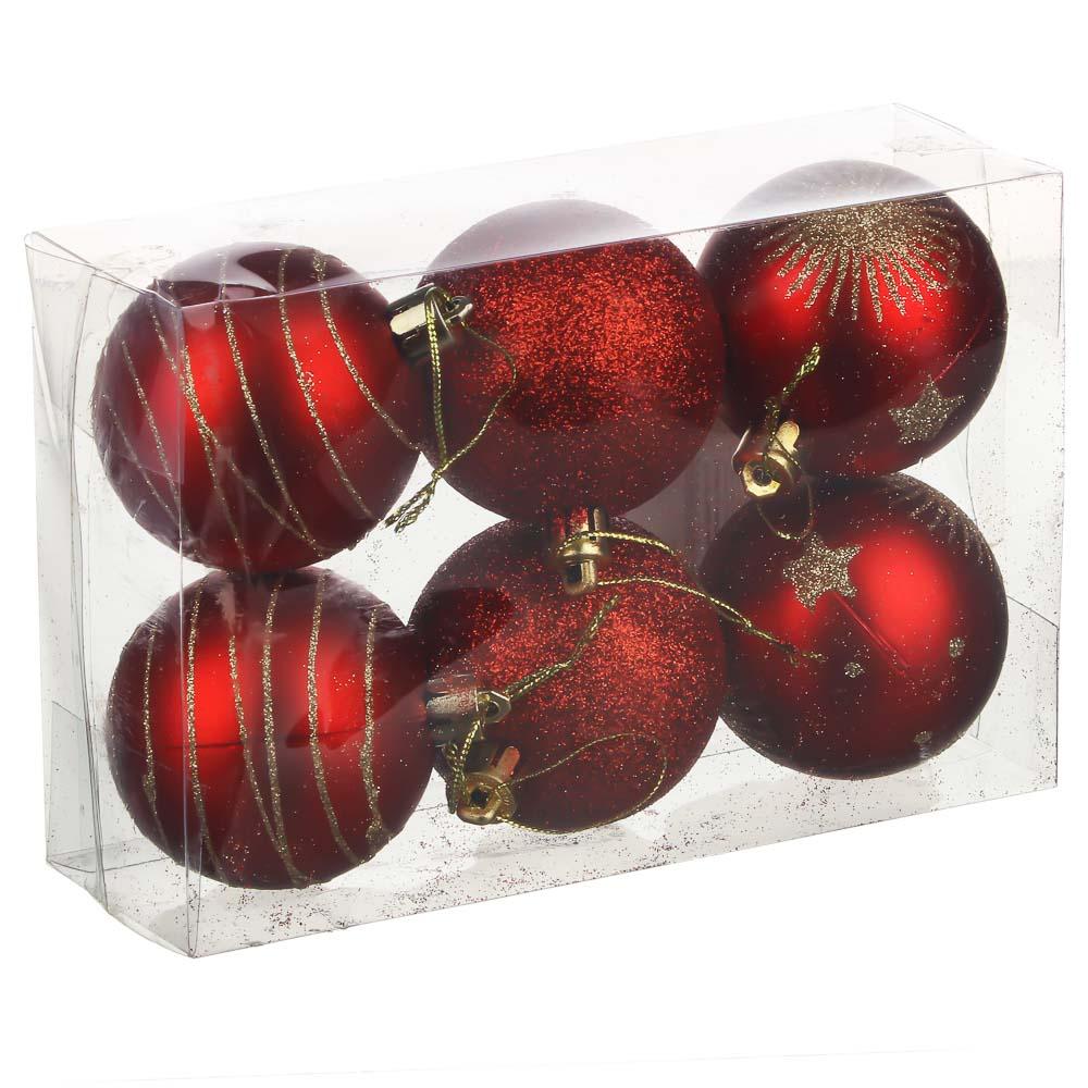 Елочные шары набор 6 шт СНОУ БУМ, 6 см, пластик, в коробке ПВХ, 3 дизайна