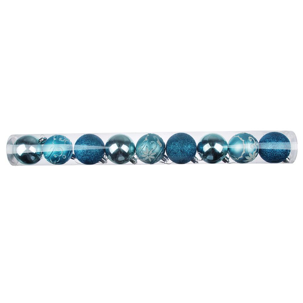 Елочные шары набор СНОУ БУМ 9 шт, 6 см, пластик, в тубе, 6 дизайнов