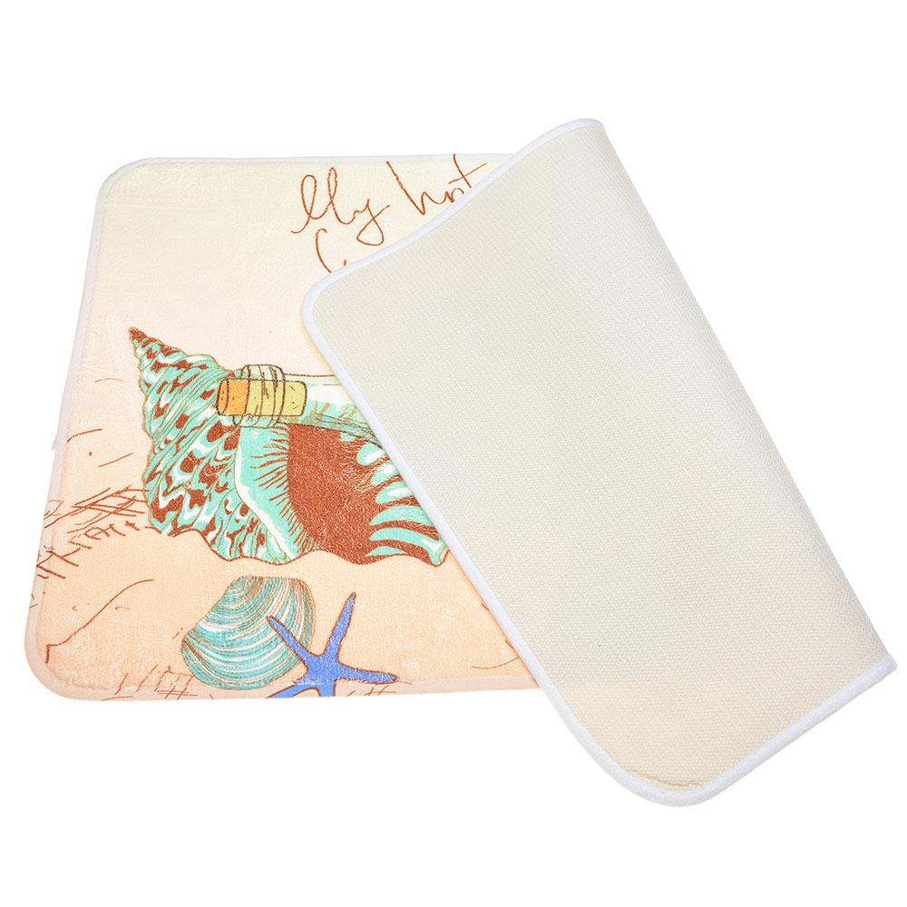 VETTA Коврик для ванной, флис, принт, губка, 0,4см, 50x80см, 3 дизайна