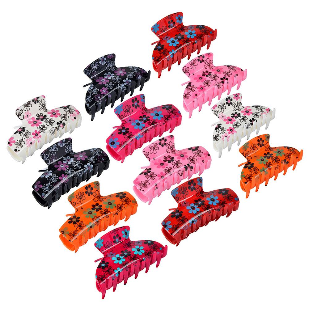 Заколка-краб, пластик, 8,5см, 2 дизайна, 6 цветов, ЗК19-02