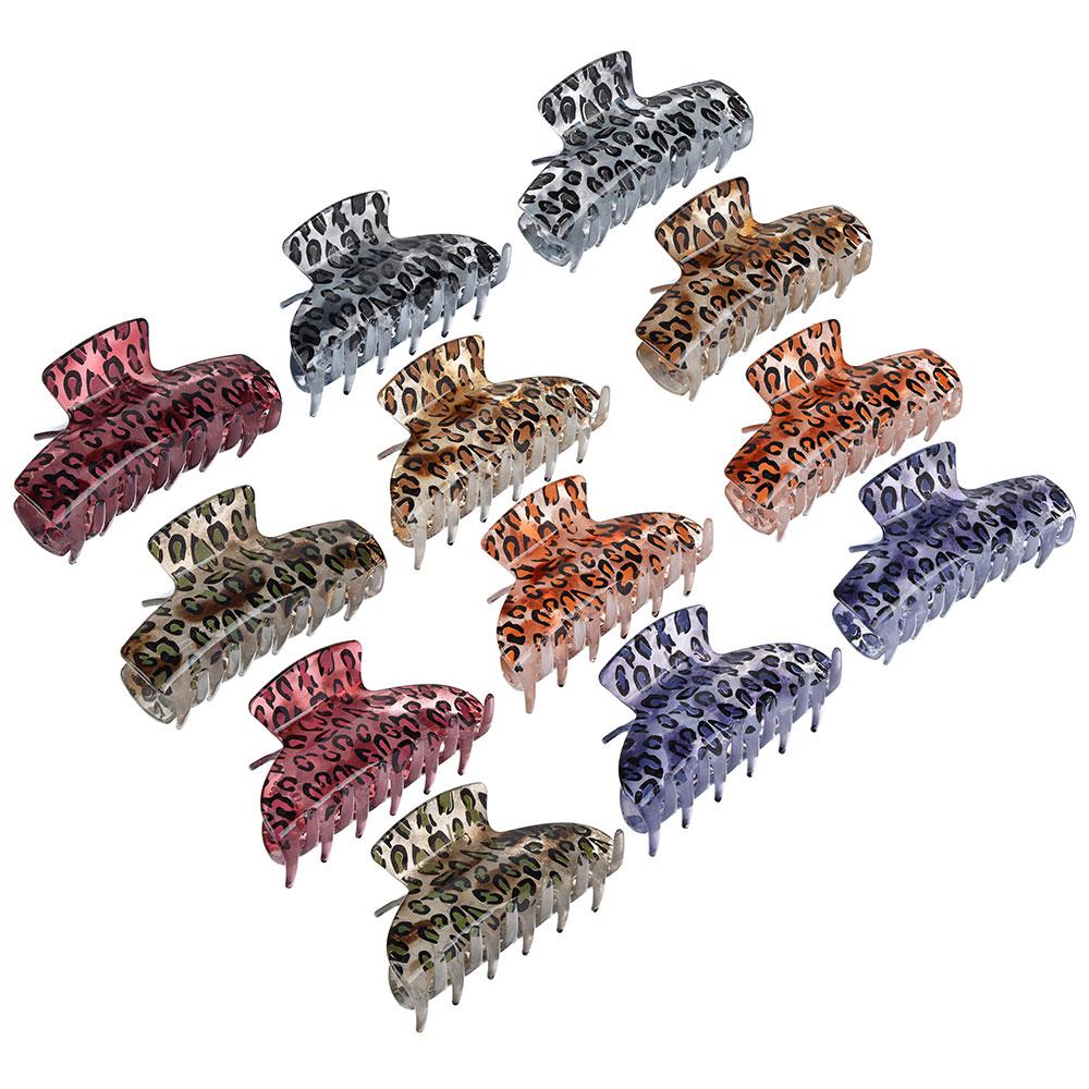 Заколка-краб, пластик, 8,5см, 2 дизайна, 6 цветов, ЗК19-03
