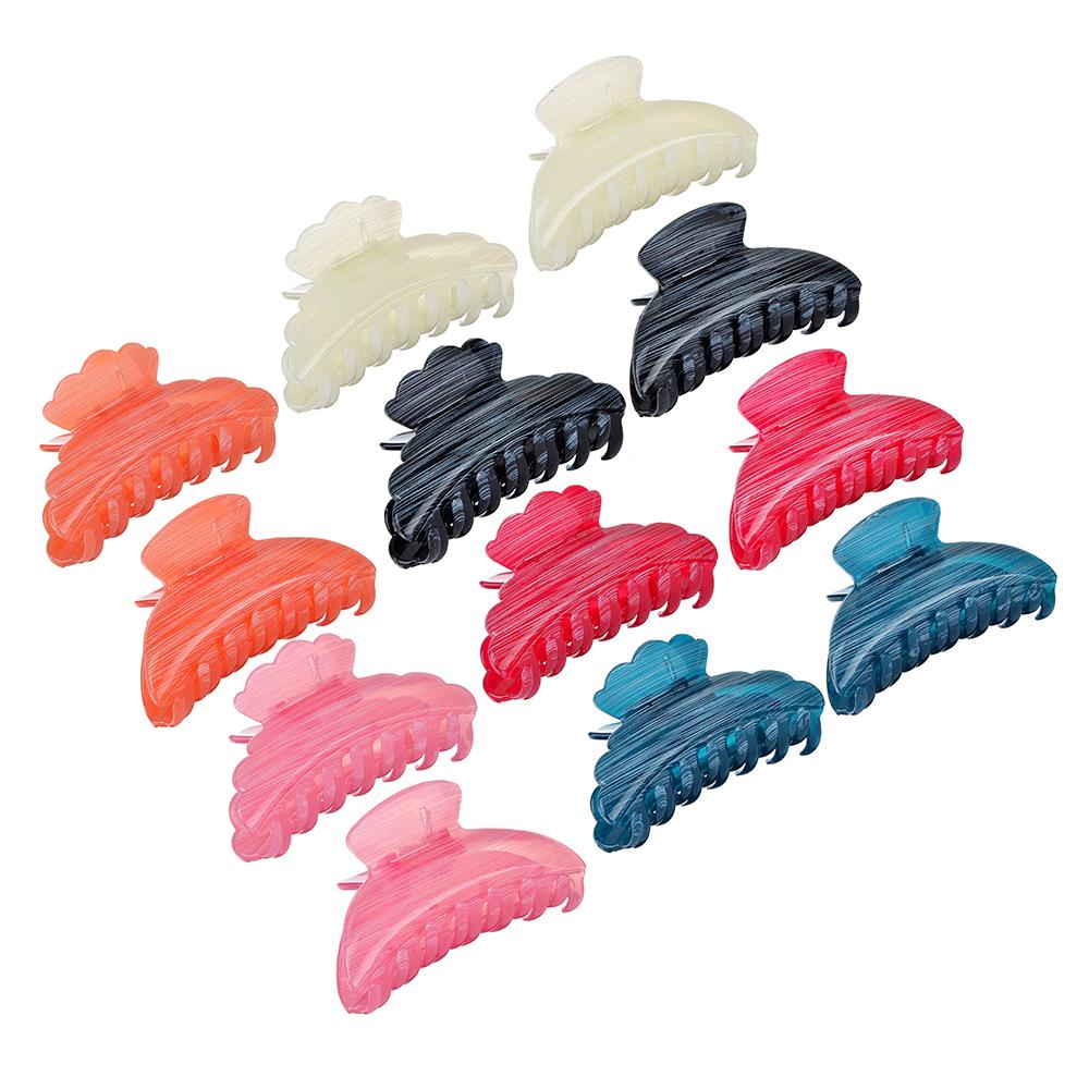 Заколка-краб, пластик, 8,5см, 2 дизайна, 6 цветов, ЗК19-04