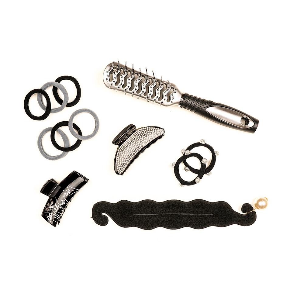 Краб для волос, пластик, 8см, черный, ЗК19-07