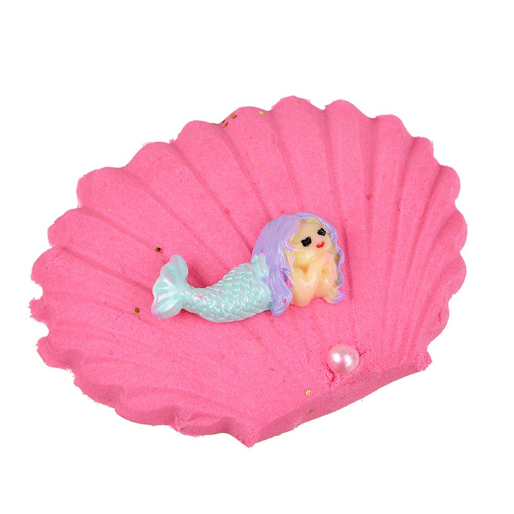 Ракушка с русалкой в кинетическом песке, пластик, кварц. песок, 9х7см, 4-8 цветов