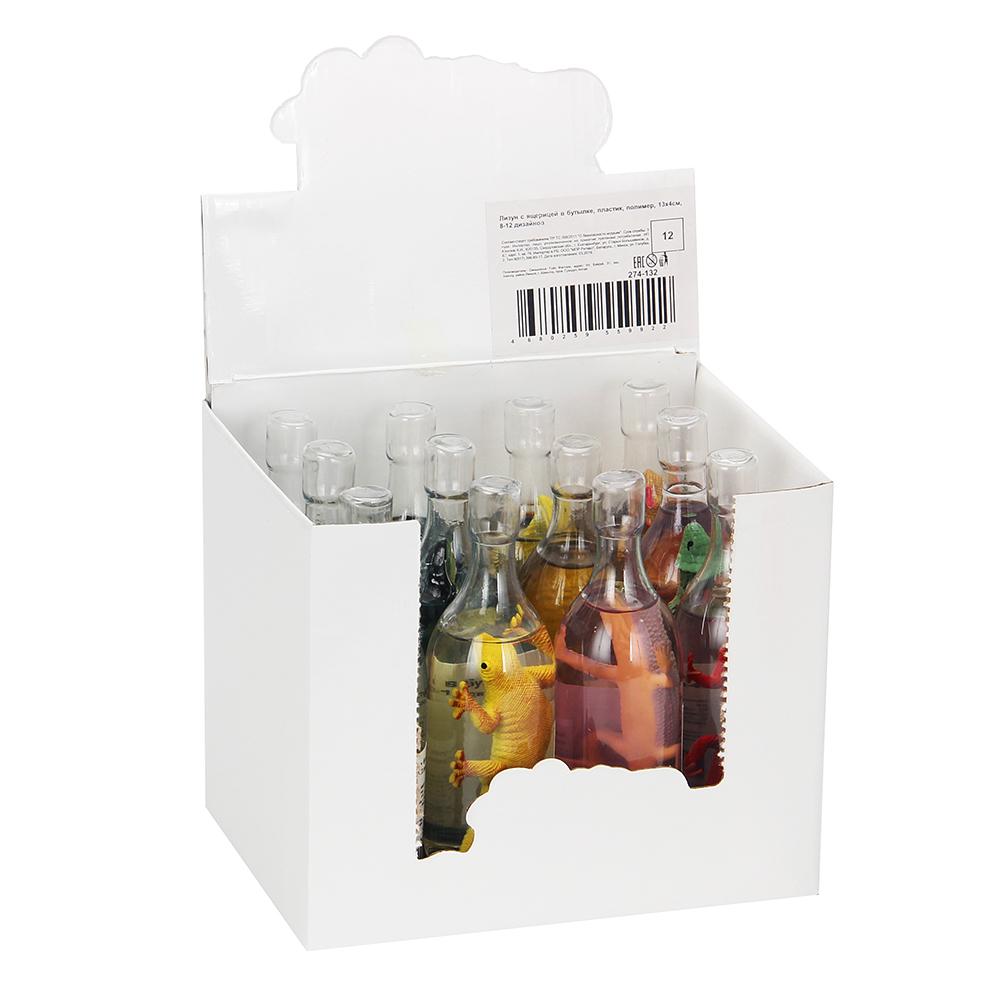 Лизун с ящерицей в бутылке, пластик, полимер, 13х4см, 8-12 дизайнов