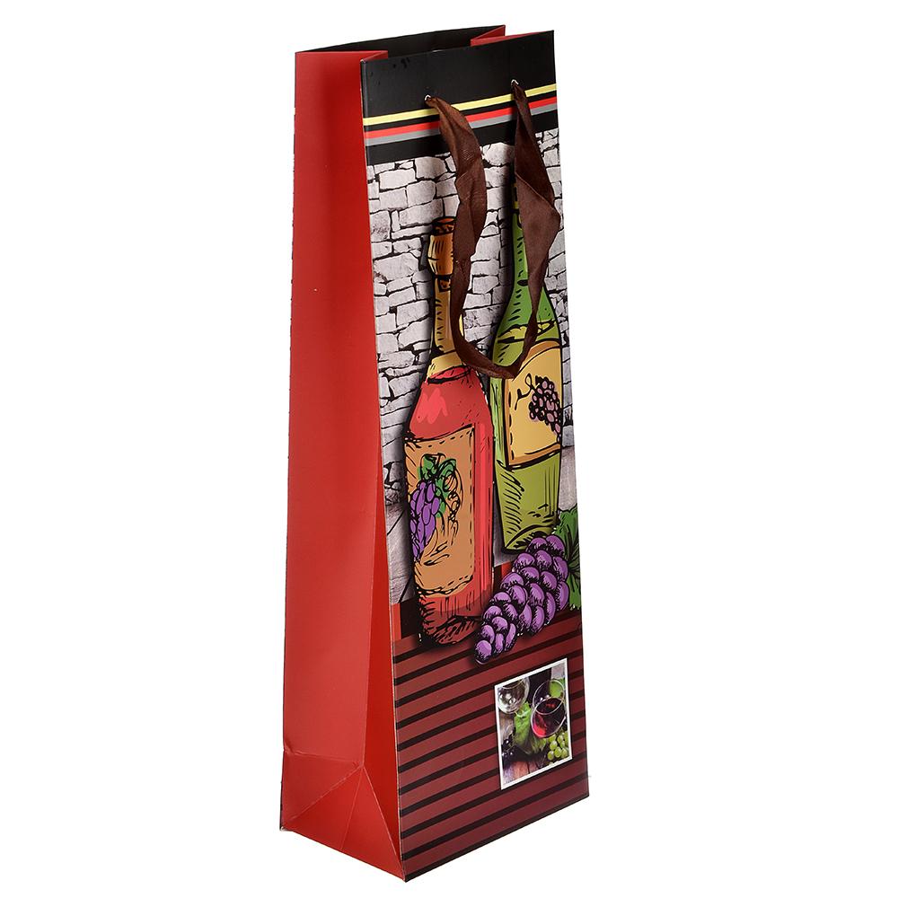 Пакет подарочный, высококачественная бумага, 12,8х36х8,4 см, 8 дизайнов с вином