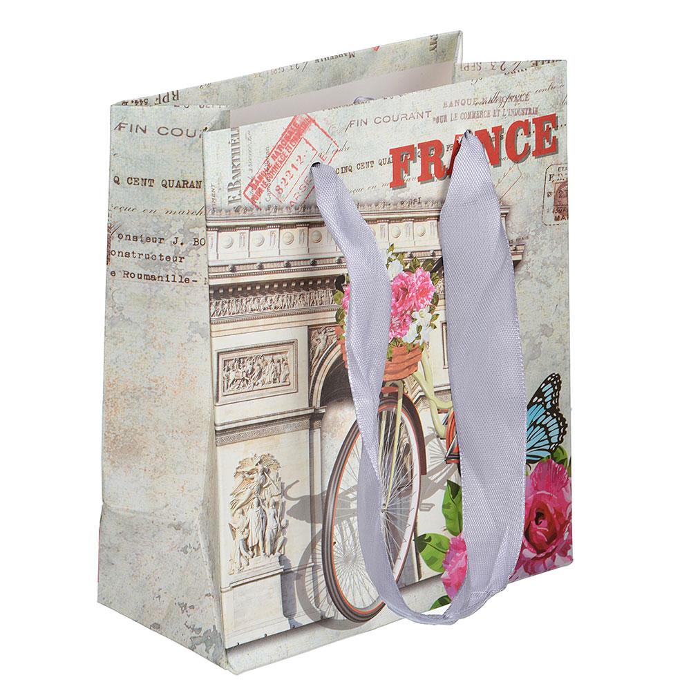 Пакет подарочный, высококачественная бумага, 12х14х6 см, 4 цвета, арт 1