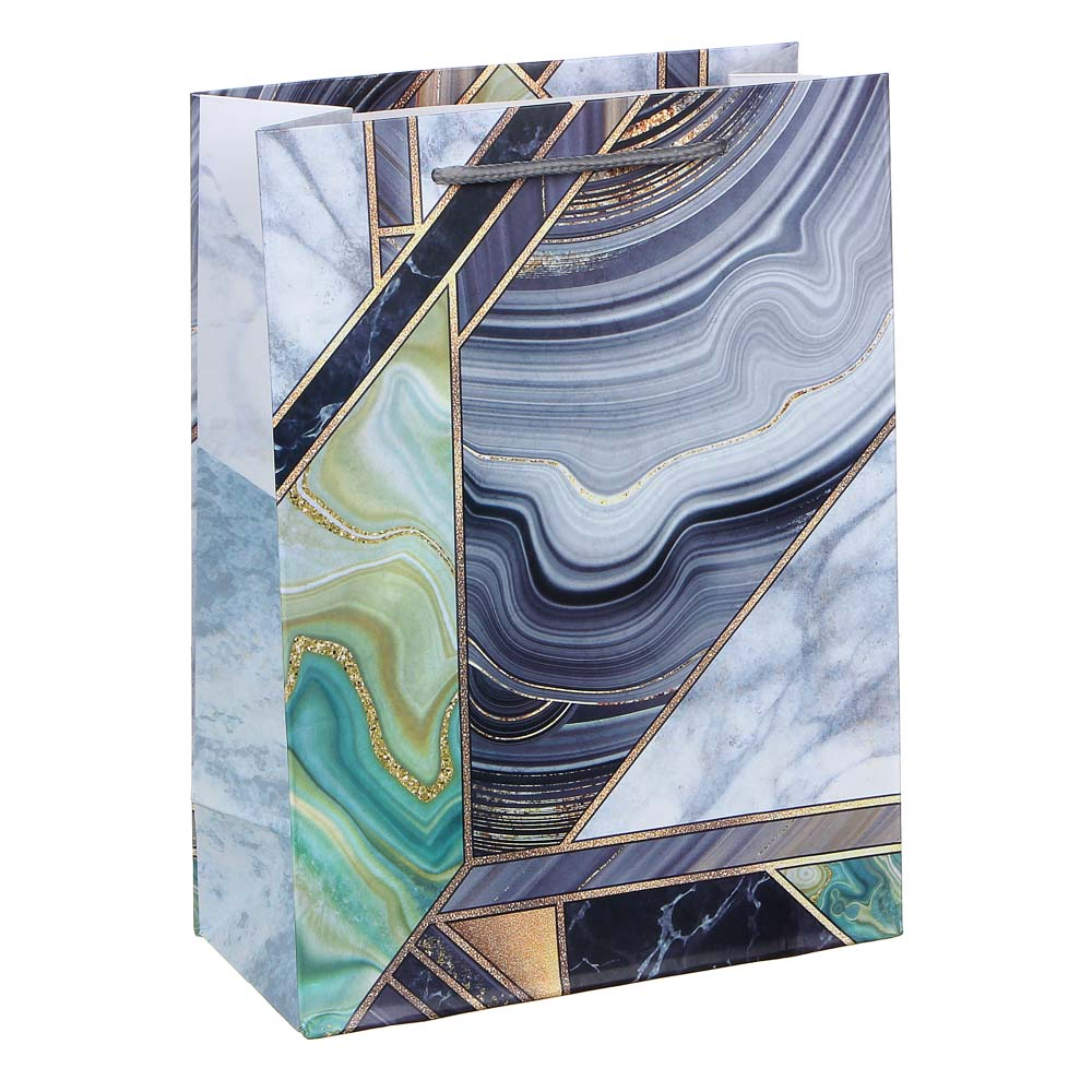Пакет подарочный, высококачественная бумага с глиттером, 18х24х8,5 см, 4 цвета, арт 2