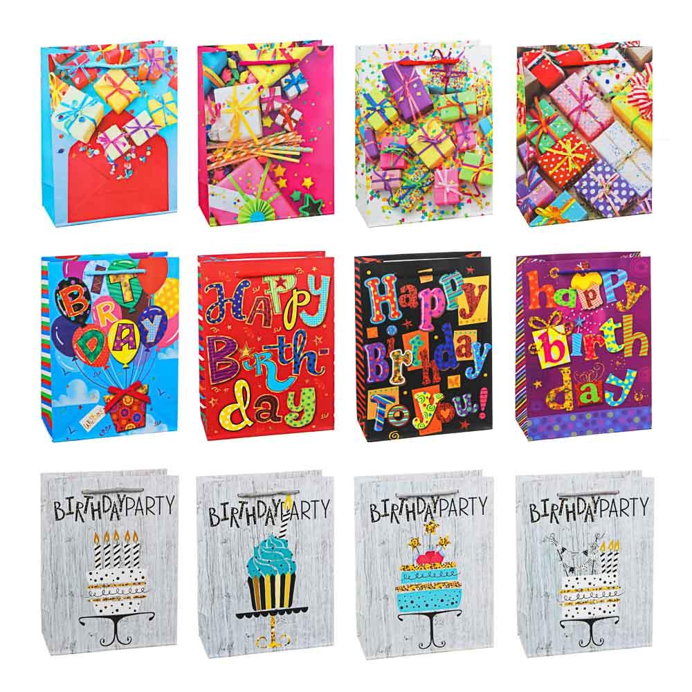 Пакет подарочный, высококачественная бумага с глиттером, 18х24х8,5 см, 4 цвета, с шарами