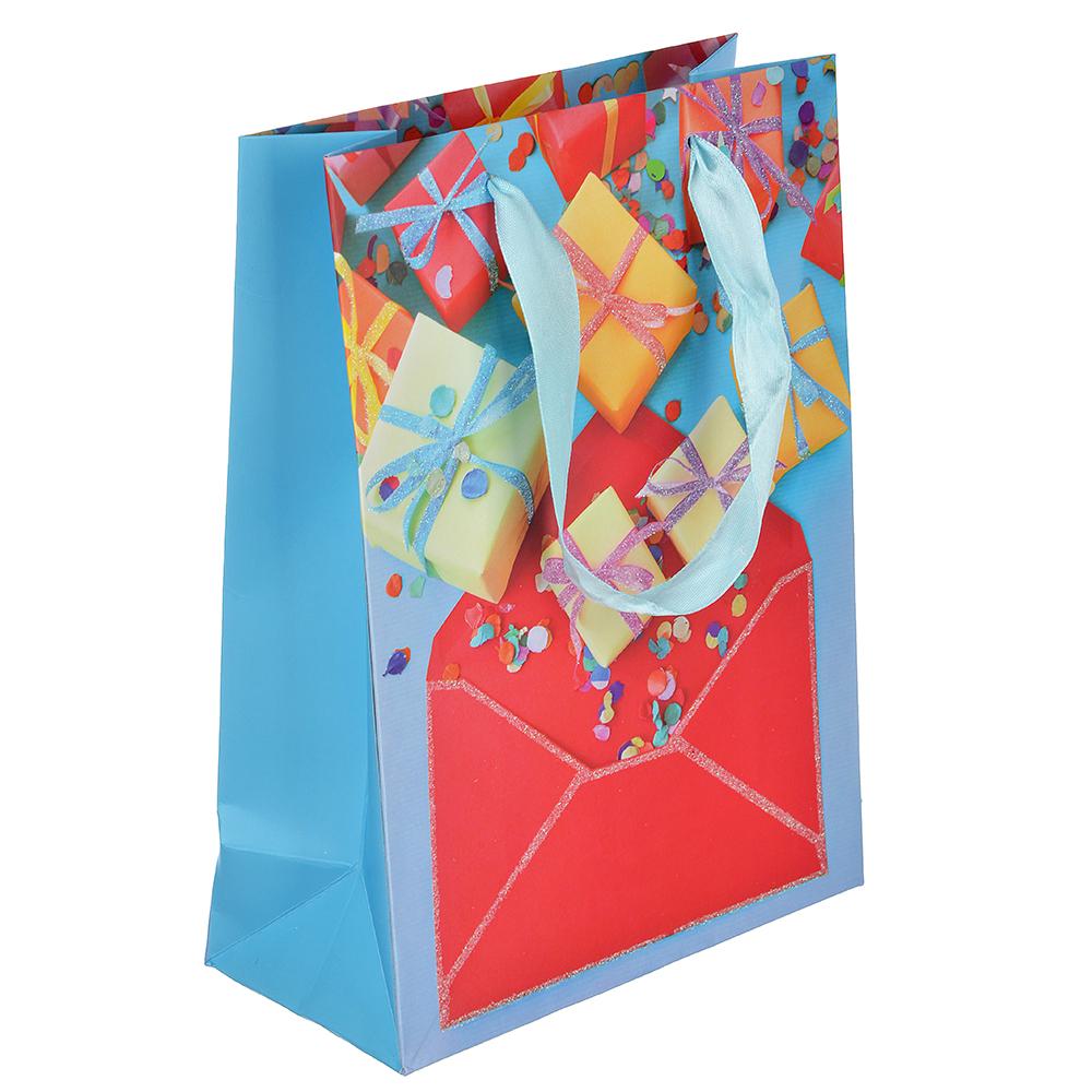 Пакет подарочный, высококачественная бумага с глиттером, 26х32х10 см, 4 цвета, с подарками