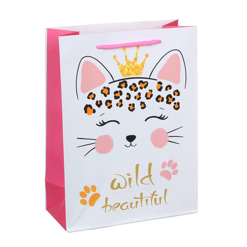 Пакет подарочный, высококачественная бумага, 18х24х8,5 см, 4 цвета, банты