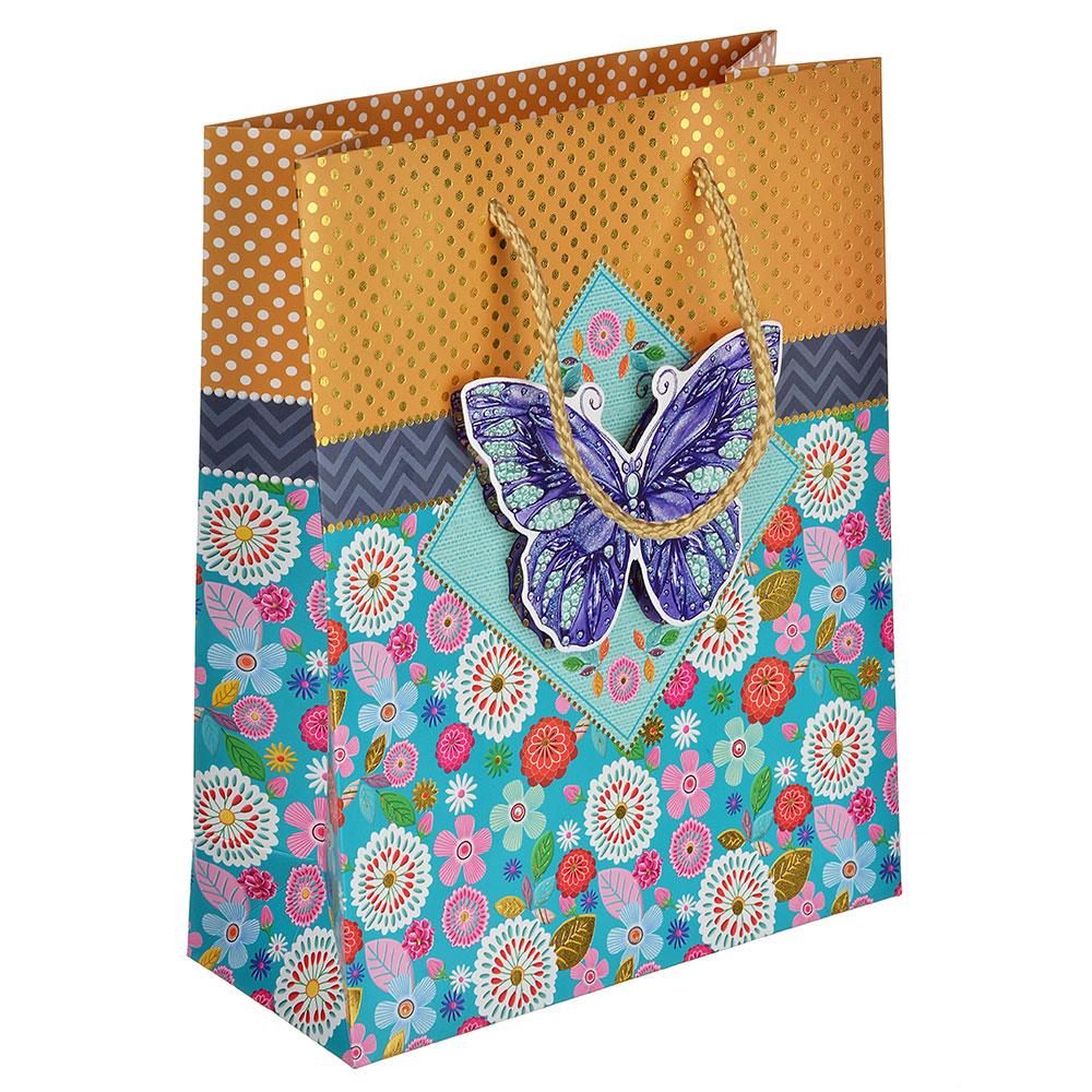 Пакет подарочный, высококачественная бумага с глиттером, 18х23х8 см, 4 цвета, с бабочками 3D
